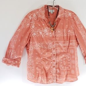Coldwater Creek Top Blouse Handkerchief PXL   [R1]